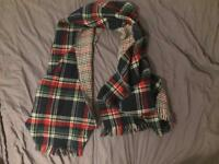Checkered green, red and white winter scarf, £5