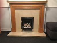 Fireplace- surround, hearth, back and fire