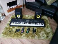 Yamaha mox8 including 8 inch krk rokit monitor speakers, 3 foot peddles and 2 mics