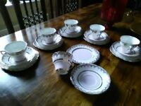 Imperial Fine English China. Warrented 22kr gold tea set