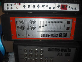 Simms Watts GE100 valve power amp solid state preamp amplifier head 100w bass