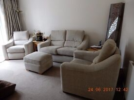 Suite comprising of two seater sofa, armchair, recliner chair and footstool