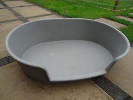 Large Plastic Dog Basket Grey 84cm