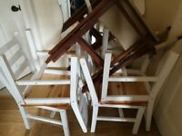 5 Free Chairs (broken but fixable. 4x wooden chairs. 1x hardwood canvas directors chair)