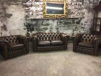 Tan/Brown Leather Chesterfield Suite