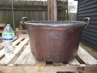ANTIQUE FRENCH COPPER POT OPEN STOCK POT WITH BRASS HANDLES 1800'S IN GOOD CONDITION FOR AGE £180