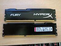 HyperX FURY 8 GB (2 x 4 GB) DDR3 1866 MHz CL10 DIMM Memory Module Kit - Black