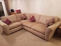 Immaculate condition neutral beige sand fabric right hand L shaped corner sofa suite