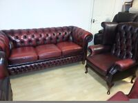 Lovely 2 piece ox blood leather chesterfield. large three setter and high back chair.
