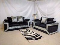 DINO SILVER/BLACK CRUSHED VELVET 3+2 SEATER SOFA | 1 YEAR WARRANTY | EXPRESS DELIVERY ALL UK