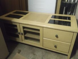 Beautiful wooden sideboard with glass inserts
