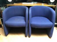 Blue fabric tub chairs (x2)
