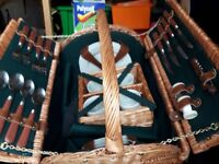 Vintage Picnic Hamper/ Basket (4 Plate/Cup inc Wine Holder Cutlery Linen Napkins etc) Camping