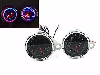 Chrome LED Motorcycle Tachometer Tacho Gauge Odometer Speedometer Speedo meter