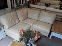 Small Cream Leather Corner Sofa