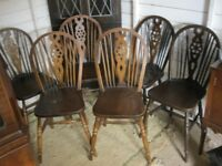6 X VINTAGE SOLID OAK ORNATE 'WHEELBACK' CHAIRS. VIEWING / DELIVERY AVAILABLE