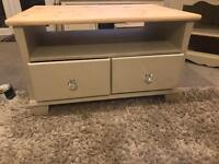 Shabby chic Solid pine coffee table / tv unit painted in farrow and ball old white paint.
