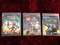 PS3 Kids games (Lego, Ratchet, Tintin)