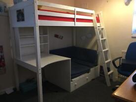 White high sleeper bed with futon and desk