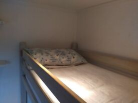 Cabin bed, single, good quality, good condition, with mattress. £75 uncluduing mattress.