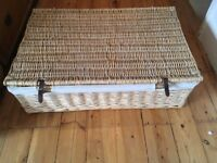 Two lovely large wicker lined storage / laundry baskets