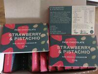 Pana Chocolate Strawberry & Pistachio 12 x 45g Bars Raw organic Handmade