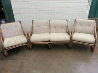 RETRO CONSERVATORY 2 SEATER SOFA + 2 ARMCHAIRS