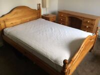Solid Pine Double Bed, Side Table and Dressing Table including mattress and cover