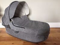 STOKKE CRUZI / TRAILZ (Black Melange) Carry Cot with rain cover - New - used only a few times