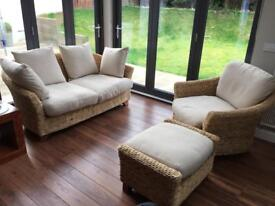 M&S Rattan Sofa, Armchair & Footstool