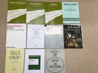 A selection of sheet music for Oboe. Most unused.