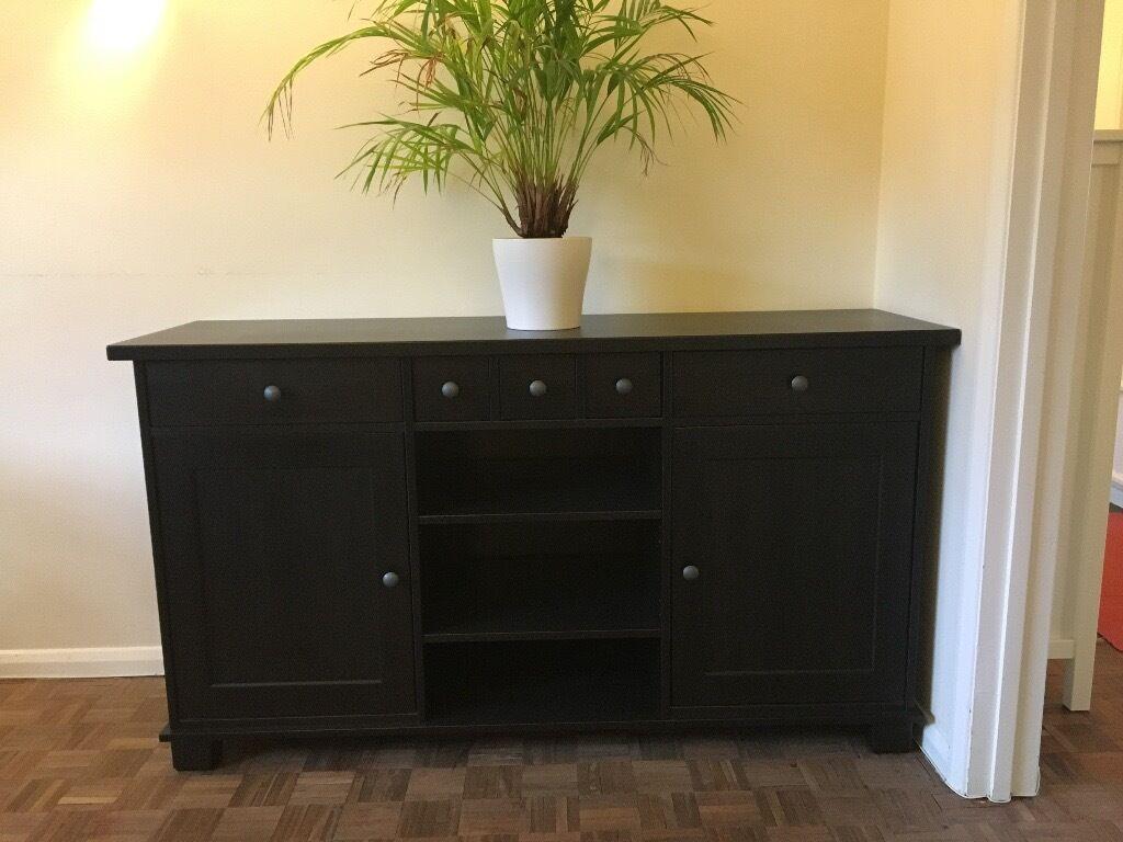 Sideboard Buffet Ikea Hemnes Black Brown Solid Wood Rrp