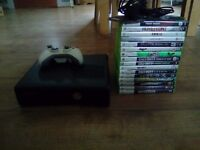 Xbox 360 with 1 pad and 18 games
