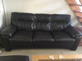 DFS stunning dark brown leather 3 seater sofa with matching foot stool/pouffe.