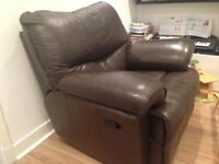 Two leather recliner sofa chairs