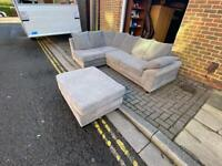 grey corner sofa with footstool Delivery available