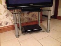 Glass & silver TV stand