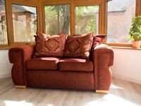2 Seater Feather Filled Sofa & Cushions (Red/Burgandy)
