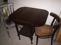 Vintage solid oak drop leaf table, good quality, plus 2 antique chairs, stick back and bentwood