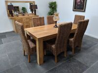 MANTIS LIGHT Natural Solid Mango 6ft Dining Set with 6 Chairs cost new £800