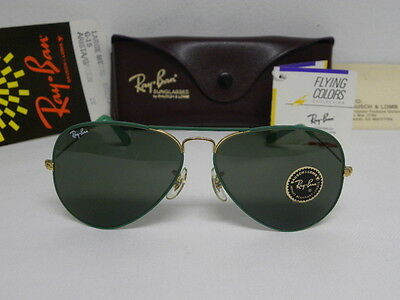 New Vintage B&L Ray Ban Large Metal Flying Colors Arista Green W0290 58m Aviator