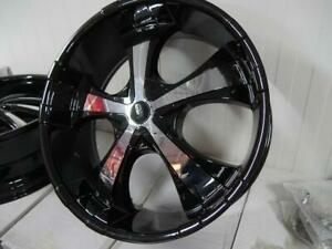 24 INCH BRAND NEW RIMS - DEEP DISH BLACK WITH CHROME INSERTS GM & FORD  6 LUG