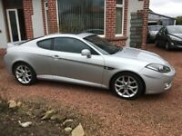 Hyundai Coupe, 2008 08 plate, well shod, silver, Black Leather Trim.