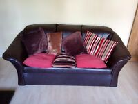 Brown leatherette three seater settee with loose cushions VGC