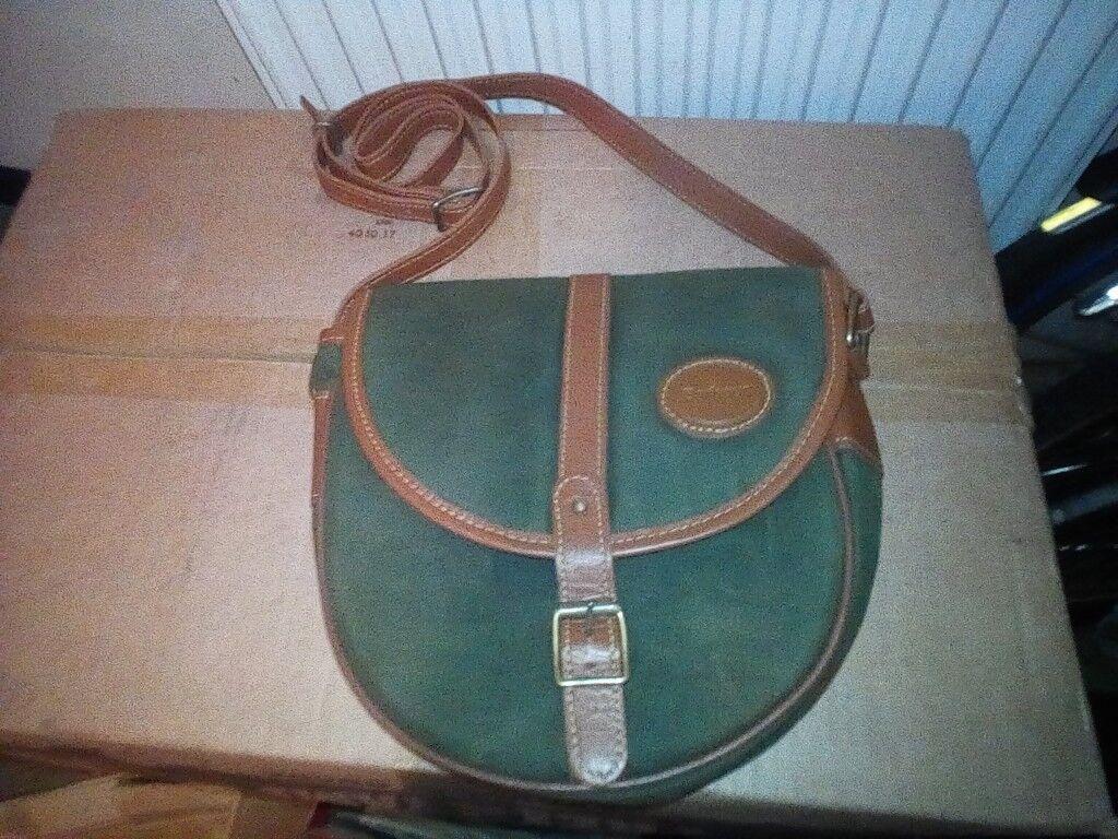 205f99c94a2 Original Barbour classic handbag waxed shoulder bag leather trim tartan  lining vgc