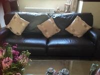 Used Dark Brown Leather 4 seater couch