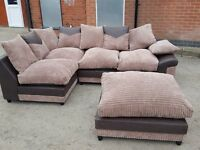 Stunning Brown & beige jumbo cord corner sofa and footstool.or larger corner.1 month old.can deliver