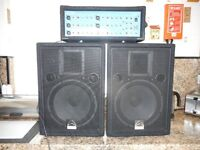 Wharfdale PM600/ 6 Channel Mixer Amp & 2 Speakers & Stands & ION Mixer