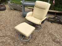 Cream leather adjustable chair and footstool ...
