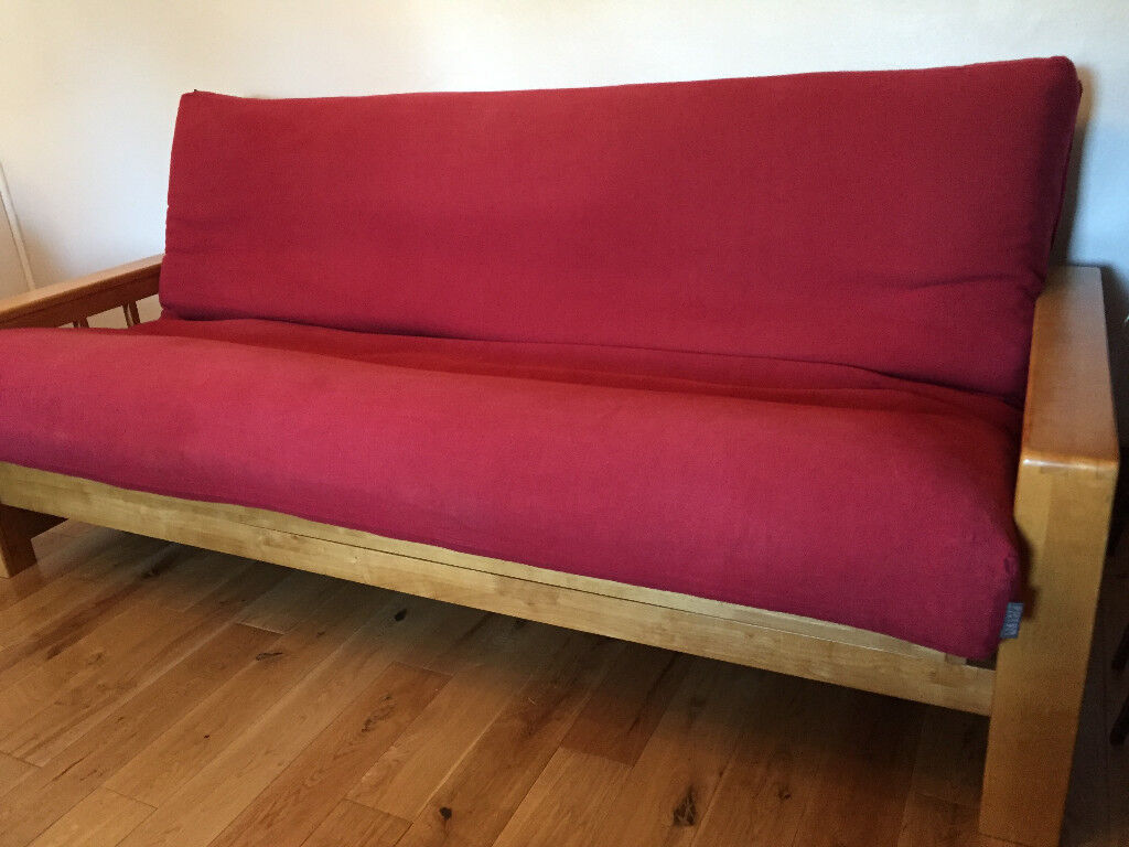 3 Seat Vienna Futon Sofa Bed By Company With Mattress And Red Cover